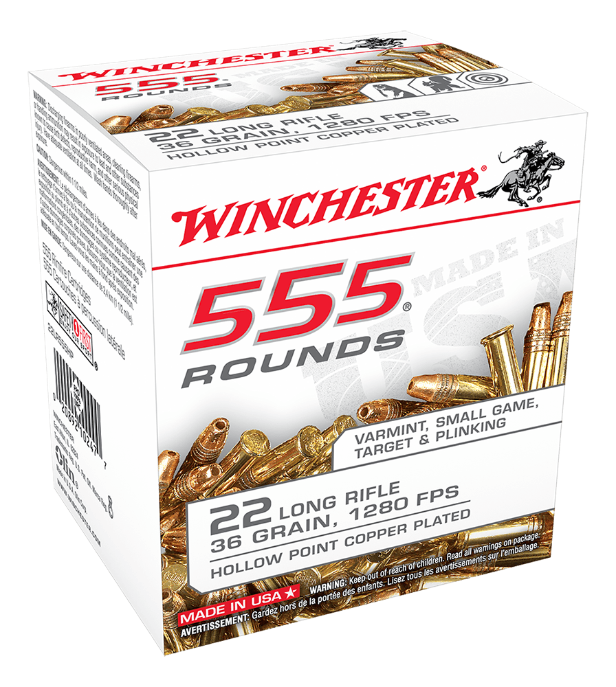 Winchester Value Pack Ammunition 22 Long Rifle (22LR) 36 Grain Copper Plated Hollow Point (HP) (555pk)
