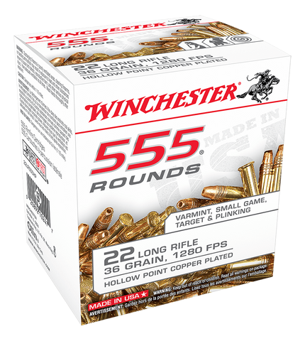 Winchester Value Pack Ammunition 22 Long Rifle 36 Grain Copper Plated Hollow Point (555pk)