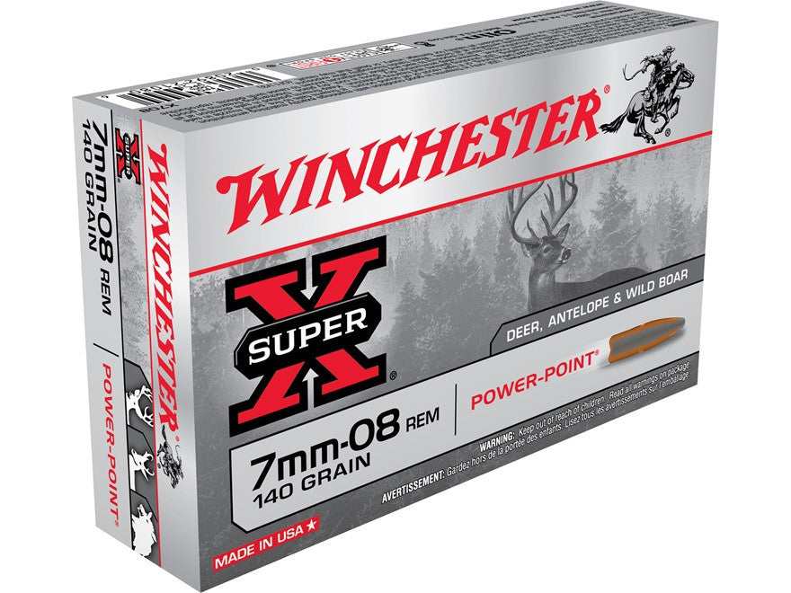 Winchester Super-X Ammunition 7mm-08 Remington 140 Grain Power-Point (20pk)