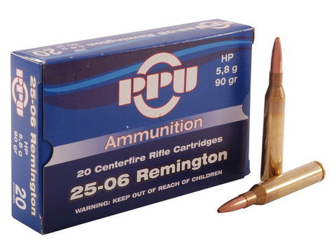 Prvi Partizan PPU Ammunition 25-06 Remington 90 Grain Hollow Point (20pk)