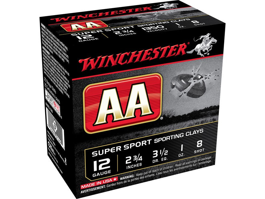 "Winchester AA Super Sport Sporting Clays Ammunition 12 Gauge 2-3/4"" 1 oz #8 Shot (25pk)"