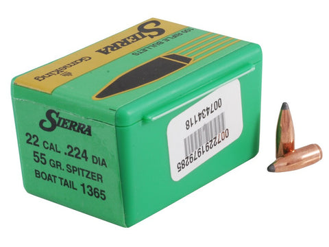 Sierra GameKing Bullets 22 Caliber (224 Diameter) 55 Grain Spitzer Boat Tail (100Pk)