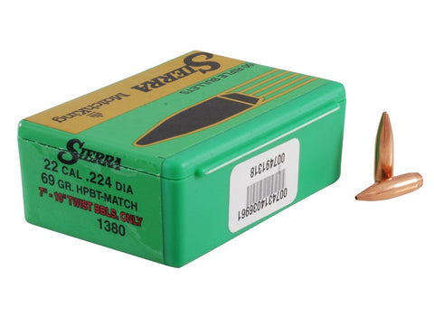 Sierra MatchKing Bullets 22 Caliber (224 Diameter) 69 Grain Hollow Point Boat Tail (100Pk)