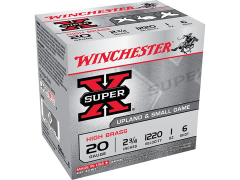 "Winchester Super-X High Brass Ammunition 20 Gauge 2-3/4"" 1 oz #6 Shot (25pk)"