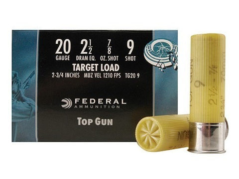 "Federal Top Gun Ammunition 20 Gauge 2-3/4"" 7/8 oz #9 Shot (25pk)"