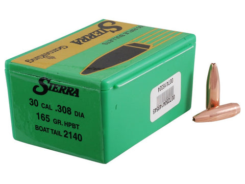 Sierra GameKing Bullets 30 Caliber (308 Diameter) 165 Grain Hollow Point Boat Tail (100pk)