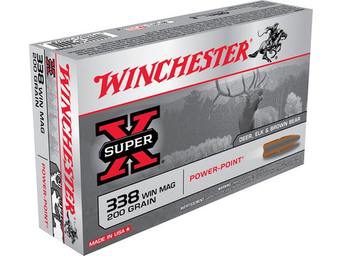Winchester Super-X Ammunition 338 Winchester Magnum 200 Grain Power-Point (20pk)