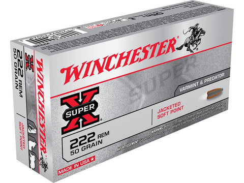 Winchester Super-X Ammunition 222 Remington 50 Grain Pointed Soft Point (20pk)