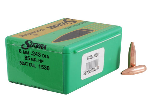 Sierra GameKing Bullets 243 Caliber, 6mm (243 Diameter) 85 Grain Hollow Point Boat Tail (100Pk)