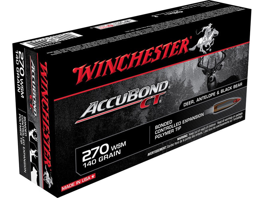 Winchester Supreme Ammunition 270 Winchester Short Magnum (WSM) 140 Grain Nosler AccuBond (20pk) - REDUCED TO CLEAR