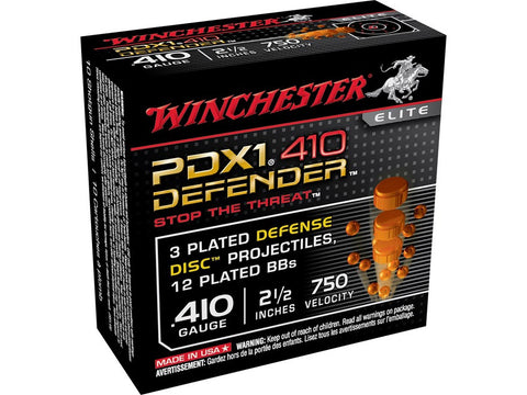"Winchester PDX1 Defender Ammunition 410 Bore 2-1/2"" 3 Disks over 1/4 oz BB Shot (10pk)"