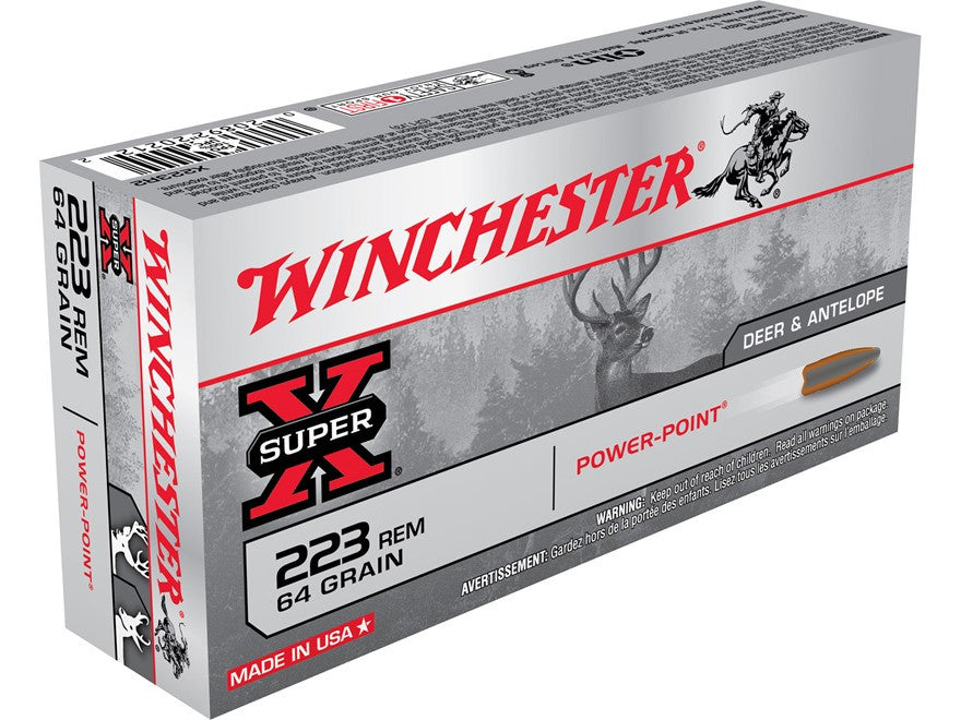 Winchester Super-X Ammunition 223 Remington 64 Grain Power-Point (20pk)