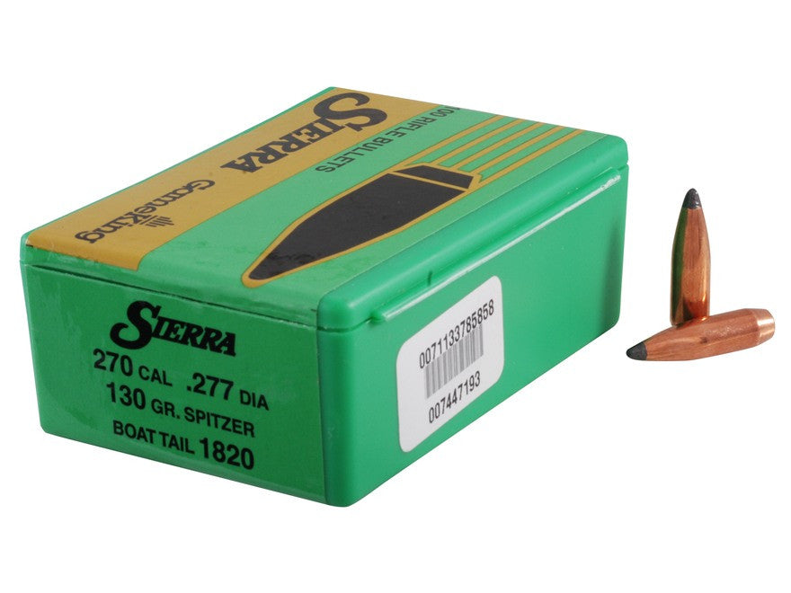 Sierra GameKing Bullets 270 Caliber (277 Diameter) 130 Grain Spitzer Boat Tail (100pk)