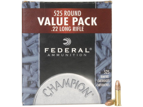 Federal Champion Target Ammunition 22 Long Rifle 36 Grain Plated Lead Hollow Point (525pk)