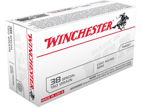 Winchester USA Ammunition 38 Special 150 Grain Lead Round Nose (50pk)