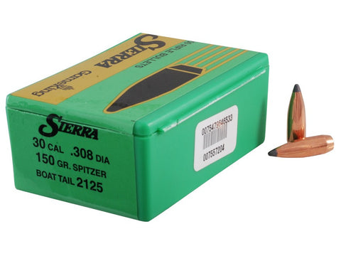 Sierra GameKing Bullets 30 Caliber (308 Diameter) 150 Grain Spitzer Boat Tail (100pk)