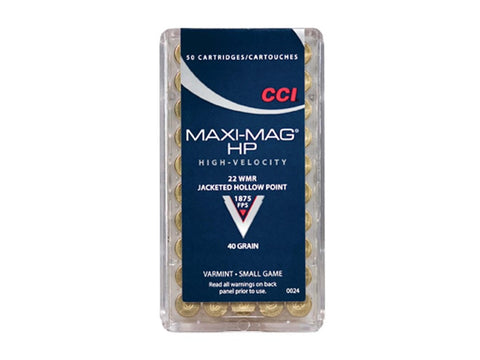 CCI Maxi-Mag Ammunition 22 Winchester Magnum Rimfire (WMR) 40 Grain Jacketed Hollow Point (50pk)