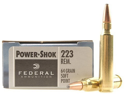Federal Power-Shok Ammunition 223 Remington 64 Grain Jacketed Soft Point (20pk)