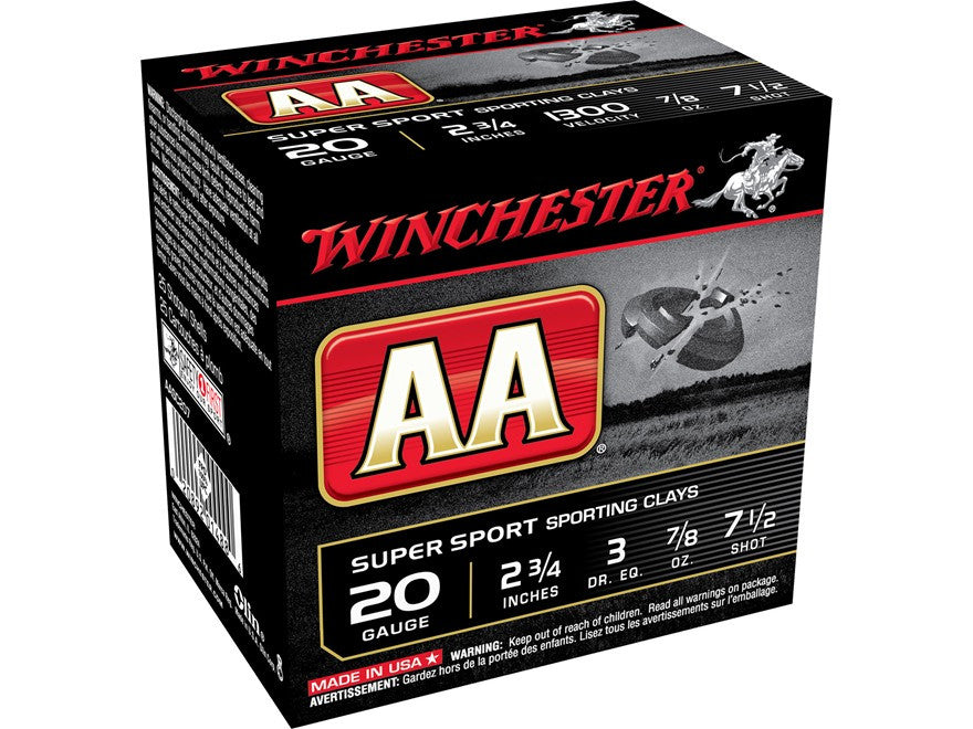 "Winchester AA Super Sport Sporting Clays Ammunition 20 Gauge 2-3/4"" 7/8 oz #7-1/2 Shot (25pk)"