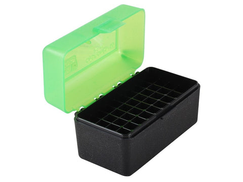 MTM Flip-Top Ammo Box 17 Remington, 204 Ruger, 223 Remington 50-Round Black/Green