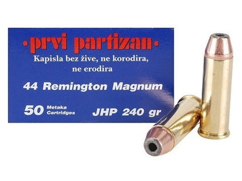 Prvi Partizan PPU Ammunition 44 Remington Magnum 240 Grain Jacketed Hollow Point (50pk)
