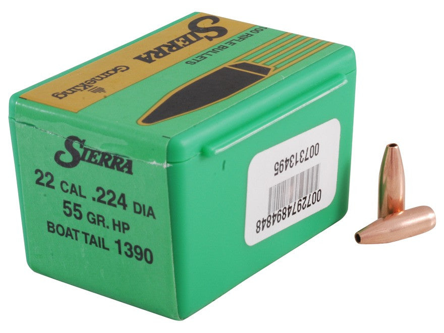 Sierra GameKing Bullets 22 Caliber (224 Diameter) 55 Grain Hollow Point Boat Tail (100pk)