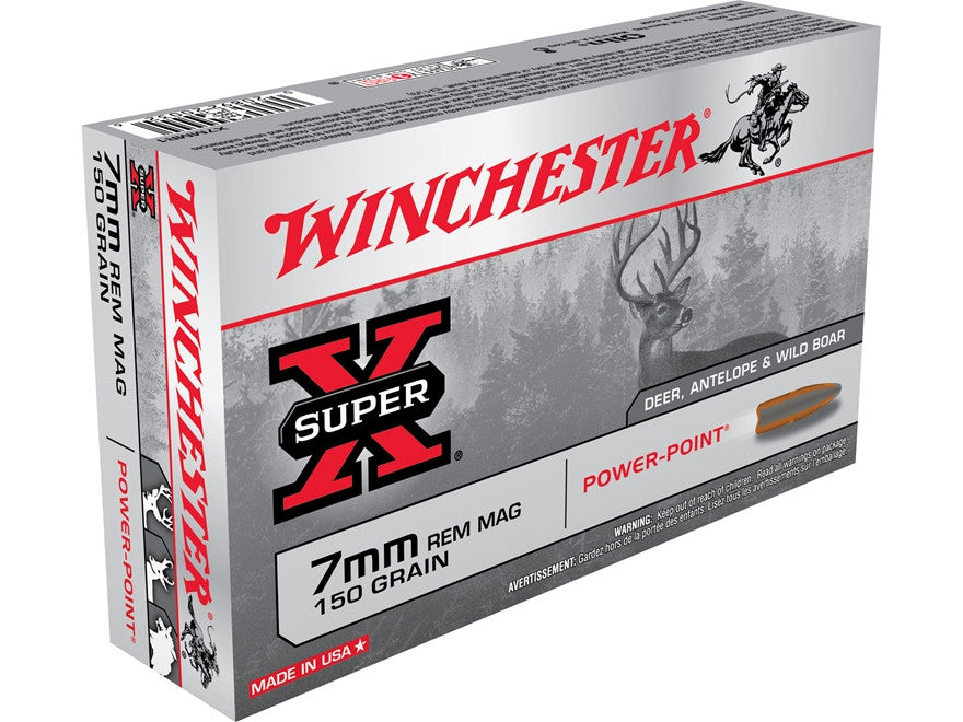 Winchester Super-X Ammunition 7mm Remington Magnum 150 Grain Power-Point (20pk) - REDUCED TO CLEAR