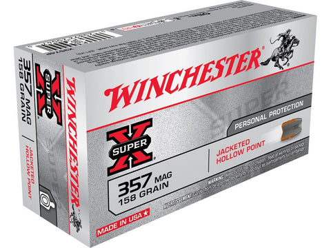 Winchester Super-X Ammunition 357 Magnum 158 Grain Jacketed Hollow Point (50pk)
