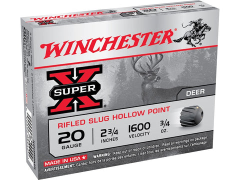 "Winchester Super-X Ammunition 20 Gauge 2-3/4"" 3/4 oz Rifled Slug (5pk)"