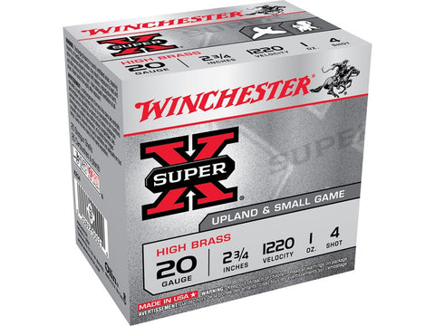 "Winchester Super-X High Brass Ammunition 20 Gauge 2-3/4"" 1 oz #4 Shot (25pk)"