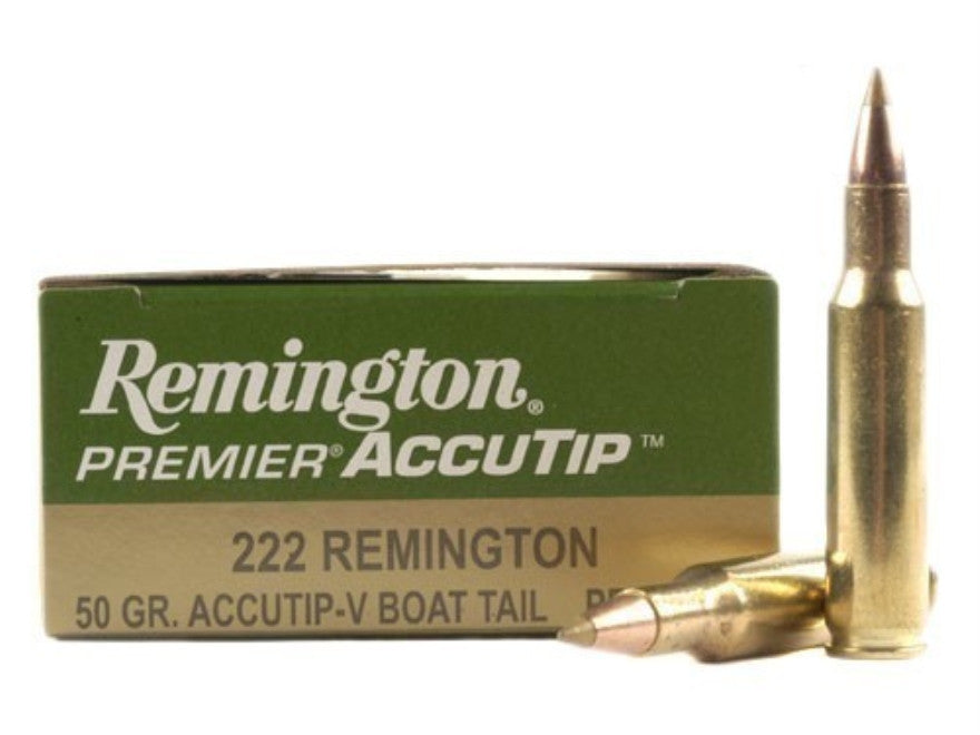 Remington Premier Varmint Ammunition 222 Remington 50 Grain AccuTip Boat Tail (20pk)
