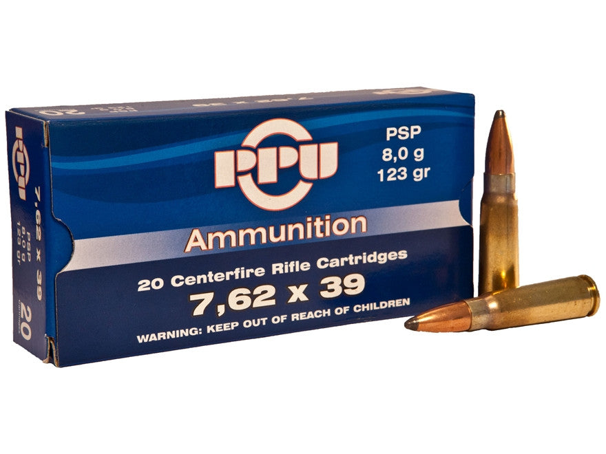 Prvi Partizan PPU Ammunition 7.62x39 123 Grain Pointed Soft Point (20pk)