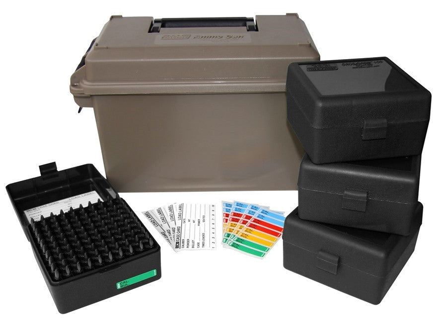 MTM Ammo Can Combo 50 Caliber Plastic Dark Earth with 4 Flip-Top Ammo Boxes  22-250 Remington, 243 Winchester, 308 Winchester 100-Round Plastic Black
