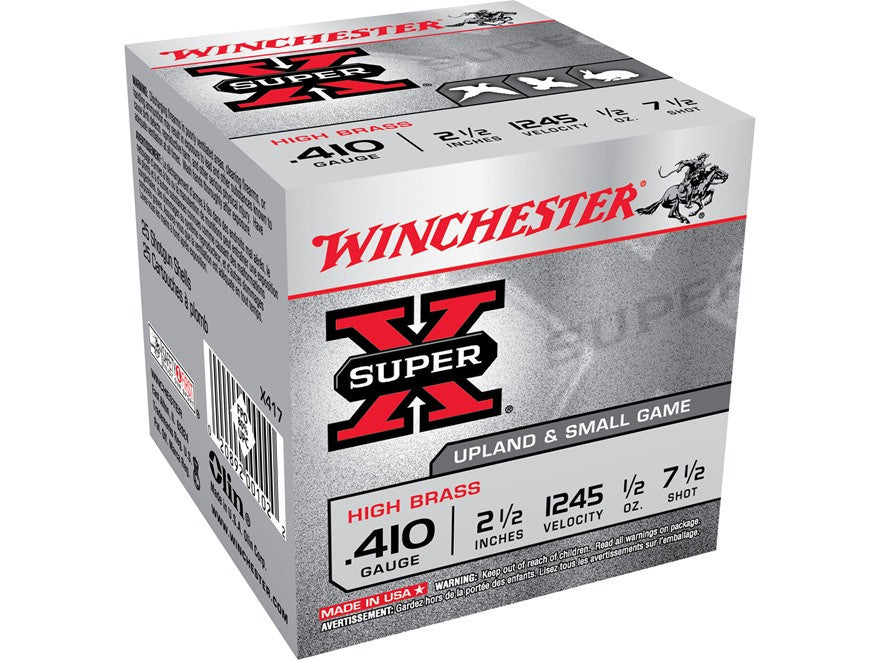 "Winchester Super-X High Brass Ammunition 410 Bore 2-1/2"" 1/2 oz #6 Shot (25pk)"