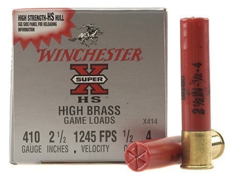 "Winchester Super-X High Brass Ammunition 410 Bore 2-1/2"" 1/2 oz #4 Shot (25pk)"