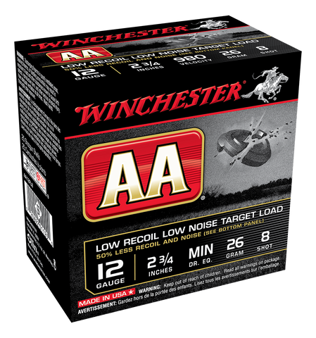 "Winchester AA Low Recoil Target Ammunition 12 Gauge 2-3/4"" 7/8 oz #8 Shot (25pk)"