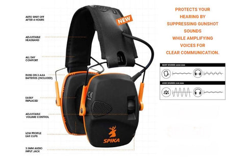 Spika Electronic Black & Orange Earmuffs (SEM-021)