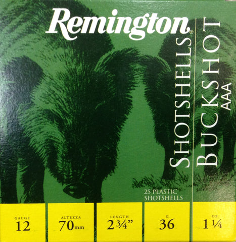 "Remington  2-3/4"", 12 gauge Buckshot AAA size 36gr (25 pellets) Shot High Brass (25pk)"