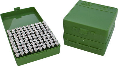 MTM  Flip-Top Pistol Box 100 Round Green 38 Spec., 357 Mag., 38 Auto Colt etc..