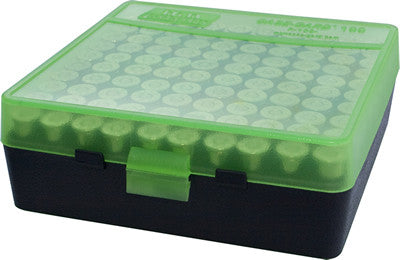 MTM Pistol Box 100 Round Clear Green and Black 38 Spec., 357 Mag., 38 Auto Colt