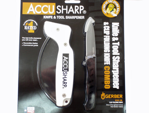 Accusharp Knife and Tool Sharpener & Gerber Clip Folding Knife Combo