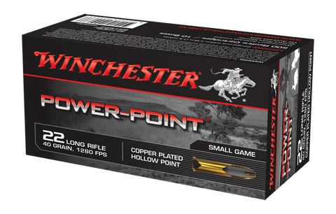 Winchester Power-Point Ammunition 22 Long Rifle (22LR) 40 Grain Copper Plated Hollow Point (HP) (50pk)