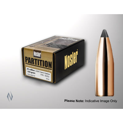 Nosler Partition Bullets 30 Caliber (308 Diameter) 180 Grain Spitzer (50pk)