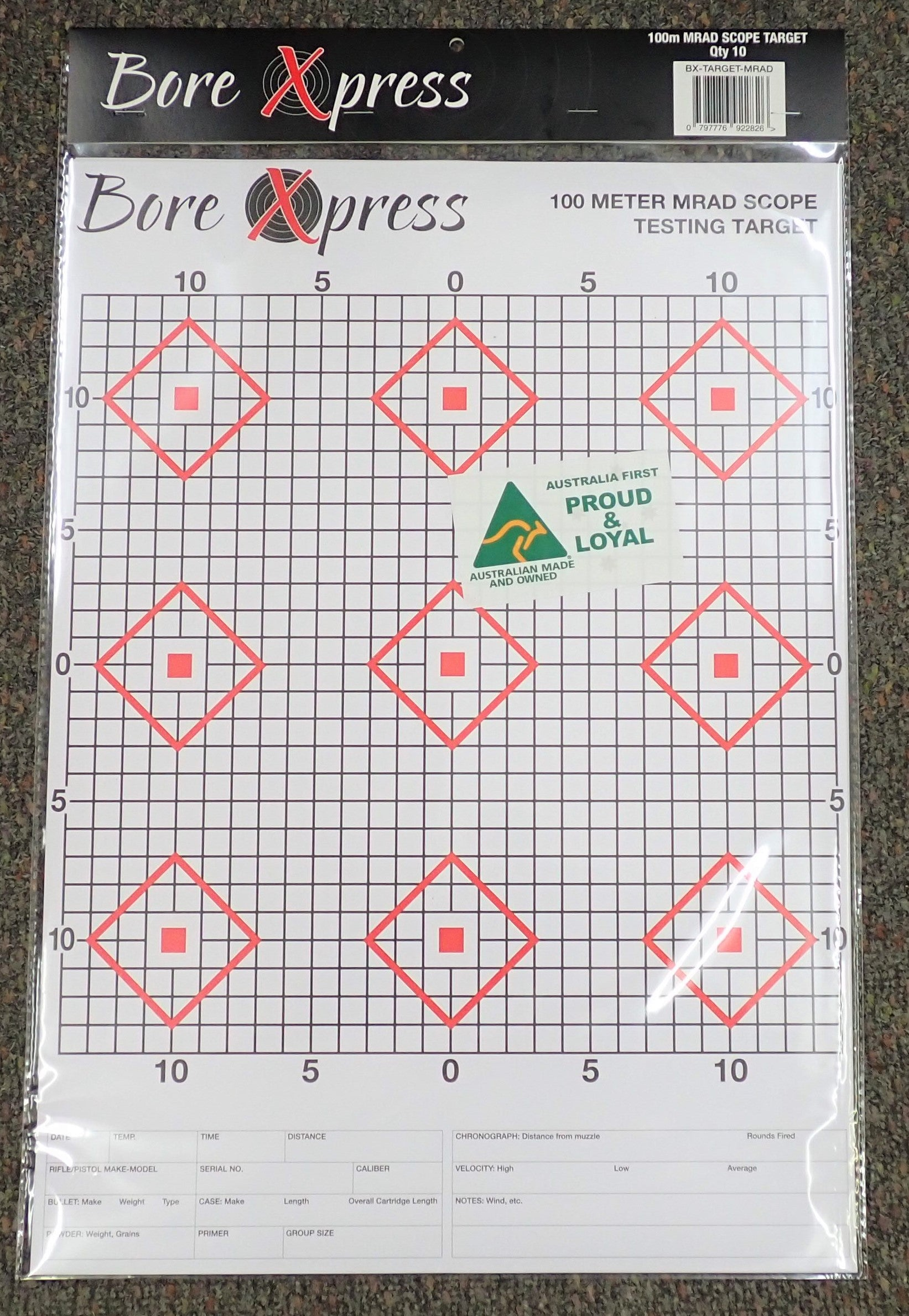 Bore Xpress Mrad Scope Testing Target (10 Pack) (Australian Made & Owned)