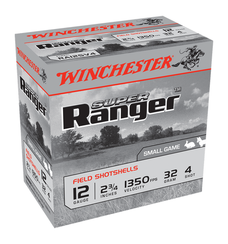 "Winchester Super Ranger Ammunition 12 Gauge 2-3/4"" 1-1/8 oz #4 Shot (25pk)"