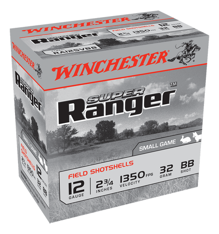"Winchester Super Ranger Ammunition 12 Gauge 2-3/4"" 1-1/8 oz #BB Shot (25pk)"