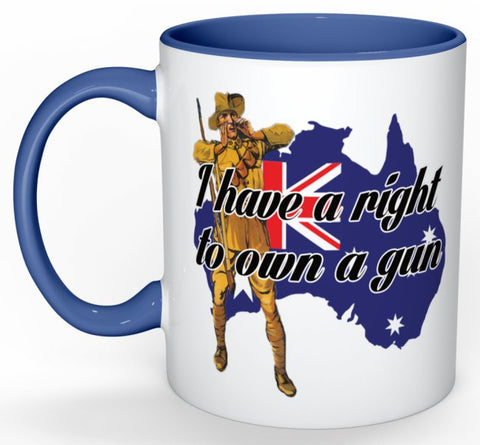 I Have A Right To Own A Gun Mug (with Blue Detail)
