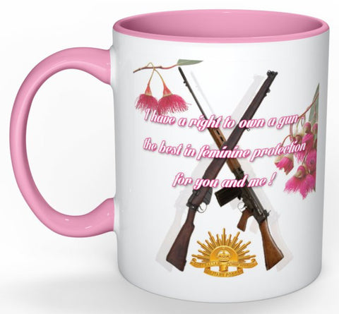 I Have A Right To Own A Gun Mug (with Pink Detail)
