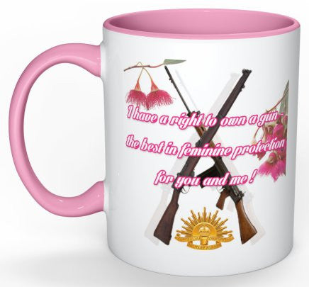 I Have A Right To Own A Gun Mug #2 (with Pink Detail)