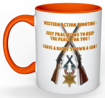Western Action - I Have A Right To Own A Gun - Mug (with Orange Details)
